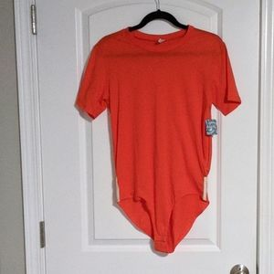 NWT Free People Orange bodysuit Tee size small
